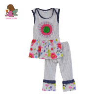 Brand New Children Girls Clothing Kids Flower Decoration Round Neck Sleeveless Top Polka Dot Pants For Girls Set S113