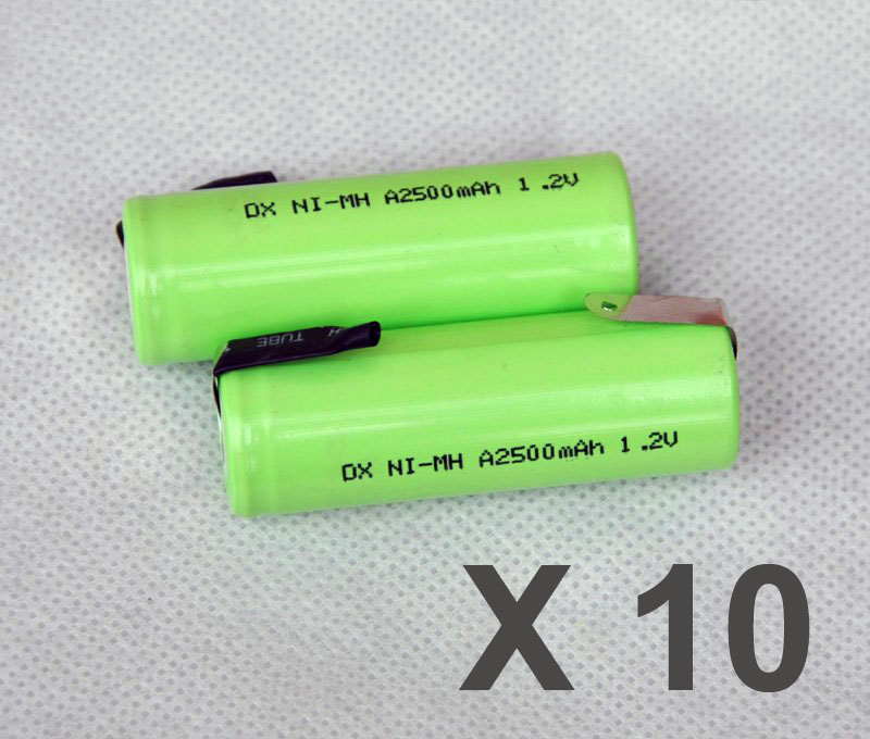 10PCS 1.2V 17500 rechargeable battery 2500mah A size ni-mh nimh cell with tab pins for Braun Oral-B ProCare Triumph Toothbrush image
