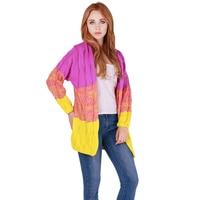 אפודות נשים 5 צבעים הדרגתיים צבעוני טלאי מעיל האופנה חורף סתיו לעבות להאריך ימים יותר חמים סוודר מזדמן שרוול מלא