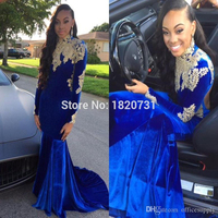 2019 Dubai Arabic High Neck Royal Blue Velvet Mermaid Evening Dresses Backless Sexy Beaded Applique Long Sleeves Party Gown