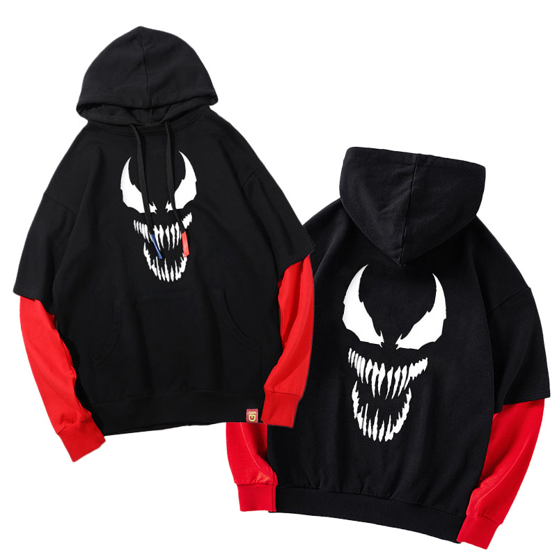 New Arrived Superhero Venom Hooded Unisex Hoodie Fake 2 Pieces Long Sleeve Sweatshirts Coat Outwear Fashion Spring Autumn Hoody