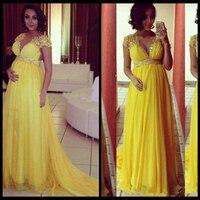 Элегантное желтое платье с коротким рукавом, на выпускной, с v образным вырезом, с высокой талией, с кристаллами, длинное шифоновое платье дл