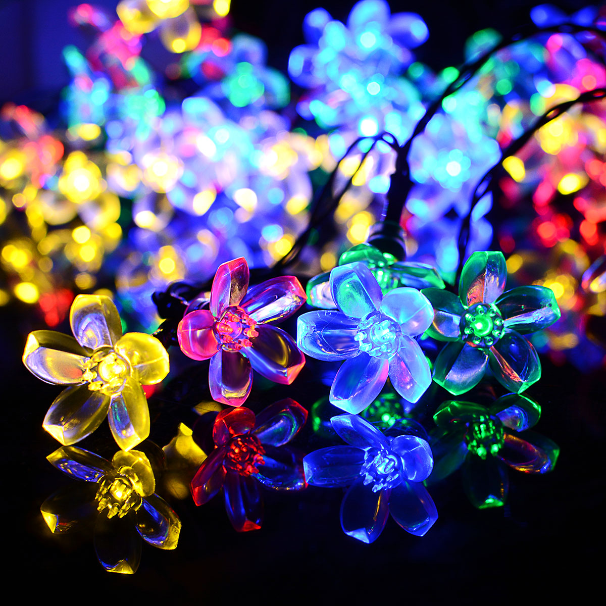 solar powered flower string lights 7m 50 led blossom multi color outdoor fairy lights decorative christmas wedding party in solar lamps from lights - Flower Christmas Lights