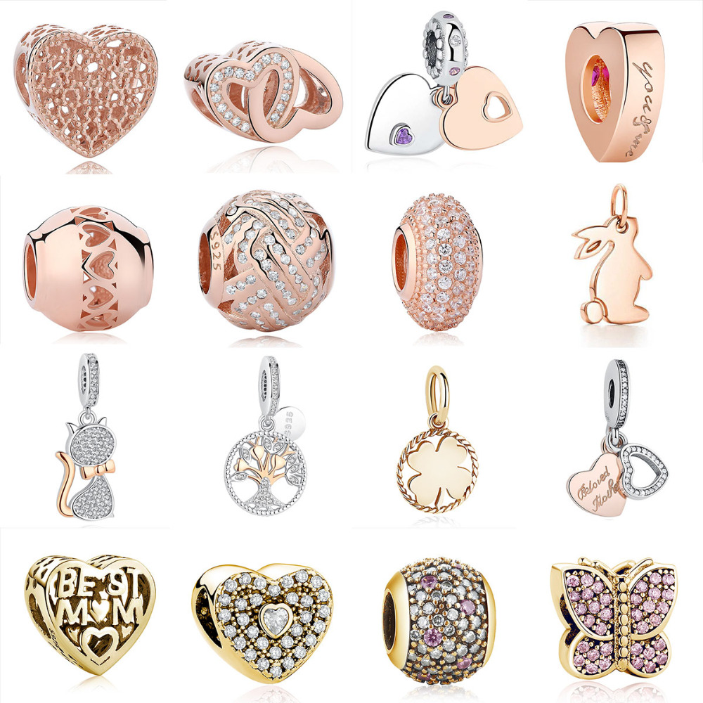ea89fe08d Authentic 925 Sterling Silver Charm fit Pandora Rose Gold Bead Bracelets  Heart Beloved Mother Crystal Pendant Charm DIY Jewelry