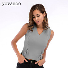 Yovamoo 2018 Knitted Vest Womens Summer Bandage Cross V-neck Sleeveless Basic Tank Top Solid Color White Gray Black Apricot