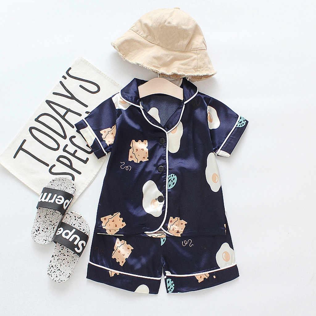 ชุดนอนสำหรับเด็กวัยหัดเดินเด็กทารกเด็กผู้หญิงชุดนอนการ์ตูนชุดนอน T เสื้อกางเกงขาสั้นชุดเสื้อผ้าเด็กฤดูร้อนชุดนอน pijamas