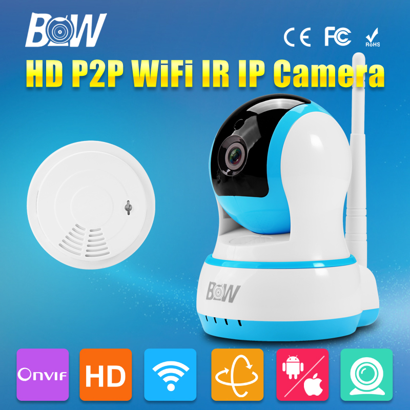 ФОТО BW with Smoke Detector HD 720P IP Camera P2P Wireless Wifi Video Security CCTV Surveillance Baby Monitor Portable with SD Card