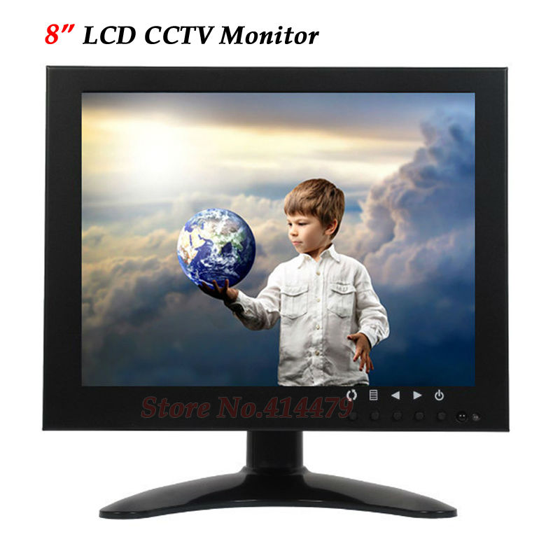 Professional 8 inch Color LCD CCTV Surveillance Monitor VGA BNC AV Video input For Home Security Camera Metal Case escam t10 10 inch tft lcd remote color video monitor screen with vga hdmi av bnc usb for pc cctv home security system camera