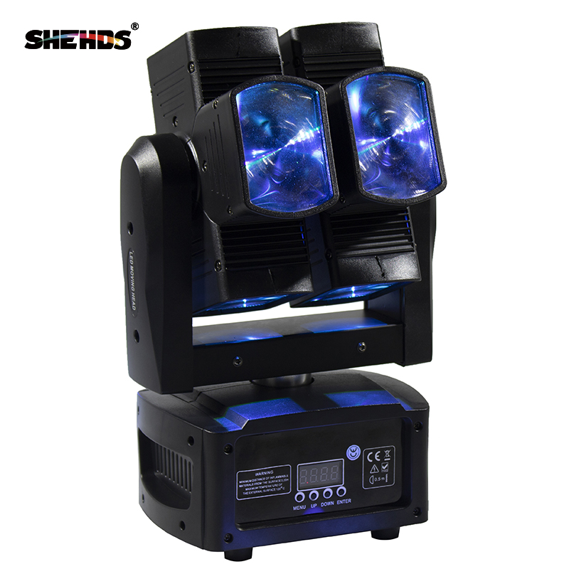 SHEHDS Stage Light DMX LED 8x10W RGBW 4in1 Moving Head Light Hot Wheel Uendelig roterende LED Beam Stage KTV DJ Party Wedding