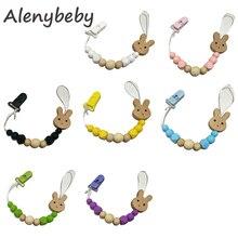 Pacifier Chain Silicone Hexagon Beads Nipple Chain Baby Nursing Chew Wooden Dumm