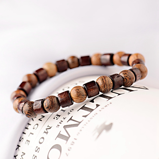Мужские браслеты для йоги из деревянных бусин