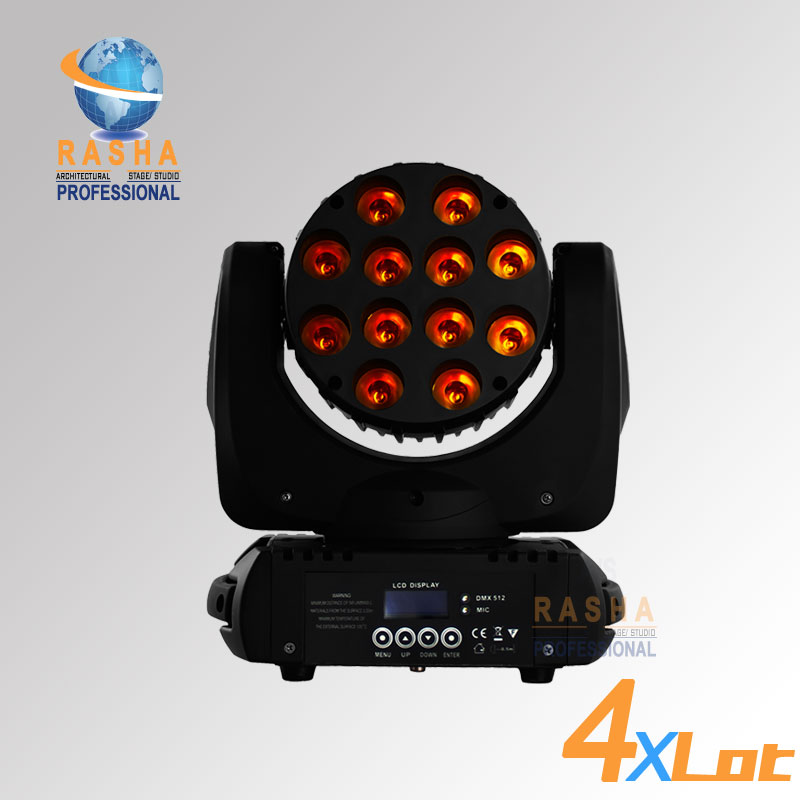 4X LOT Rasha Hot Sale 12leds*10W Brand 4IN1 RGBW LED Moving Head Beam,Moving Head Light,Beam Light,Stage Light 110-240V