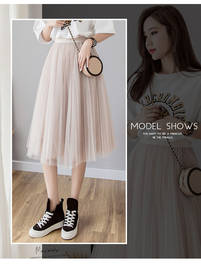 HTB1v2fHLCrqK1RjSZK9q6xyypXaT - Tulle Skirts Womens Midi Pleated Skirt Black Pink Tulle Skirt Women Spring Summer Korean Elastic High Waist Mesh Tutu Skirt
