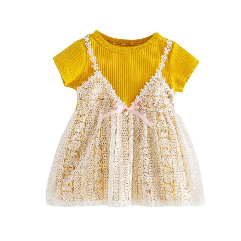 Милое Платье, летнее платье для девочек, платье принцессы для шоппинга, элегантное светло-голубое милое школьное платье на лямках - Цвет: yellow