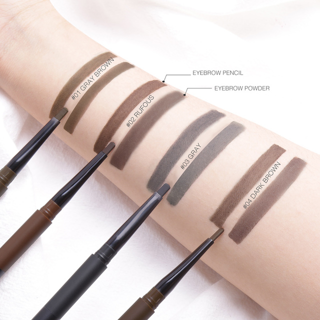 FOCALLURE Eyebrow Pencil 3 in 1 Auto Waterproof Eye Makeup Brow Shades Brush Powder Tint No Tone Long Lasting Eyebrow Pencil 3