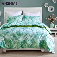 AHSNME Very Comfortable Fabric and Summer Cool Plantain Leaf Pattern Bedding Set American Size Quilt Cover Home Textiles
