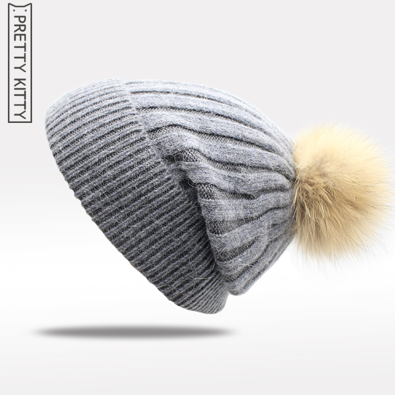 Wool +  Raccoon Fur Women Beanies Pom Poms Wool Hat Beanie Knitted Skullies Fashion Caps Ladies Knit Cap Winter Hats For Women 2017 winter fur hat female rex rabbit fur hat with fox fur pom poms fur knitted beanies fashion high quality caps for women hats