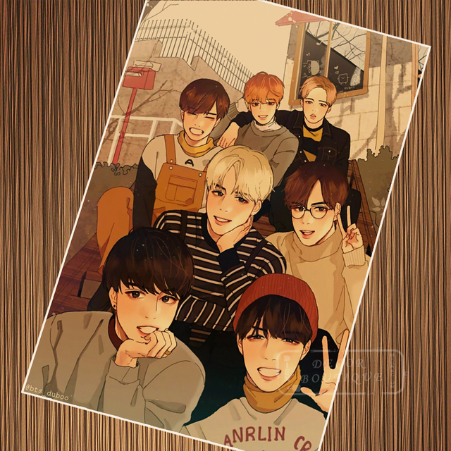 Cartoon Anime BTS Collection Poster Canvas Painting DIY Wall Paper Posters Home Decor Gift
