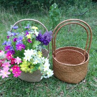 2pcs Set Round Shape Household Natural Seagrass Woven Flower Basket Handmade Tote Storage Basket With Handles