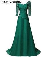 Vestido Festa Longo Noite Casamento 2017 Emerald Green Evening Dress Long Chiffon Prom Dresses With Sleeves