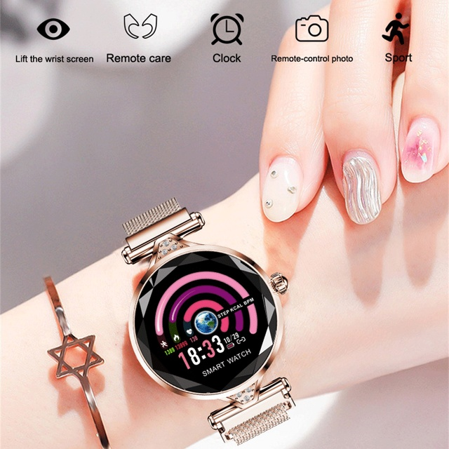 696 H1 Fashion Women Smart Bracelet Watch Heart Rate Blood Pressure Fitness Tracke Wristband Diamond Smartwatch IP67 Waterproof