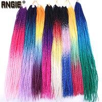 Вязание крючком плетение волос 22 дюймов сенегаль твист высокая температура Синтетические волосы парик три тона Омбре цвет крючком косы