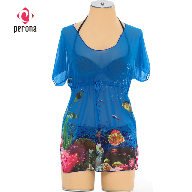 61d1e4abff Waist Gathers Chiffon Bikini Wrap Dress Cover Up Transparent U-neck Loose Women s  Beach Blouse Neon Sheer Cover-ups Beach Wear