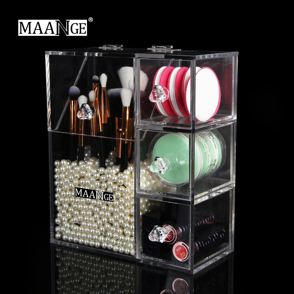 MAANGE Acrylic Makeup Tools Organizer Cosmetic Storage Box Case Makeup Brushes Holder Make Up Display Stand With 3 Layer Drawers makeup organizer storage box acrylic make up organizer cosmetic organizer makeup storage drawers organiser