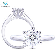 DovEggs 1ct Moissanite Engagement Ring in 14K 585 White Gold 6.5mm GH Color