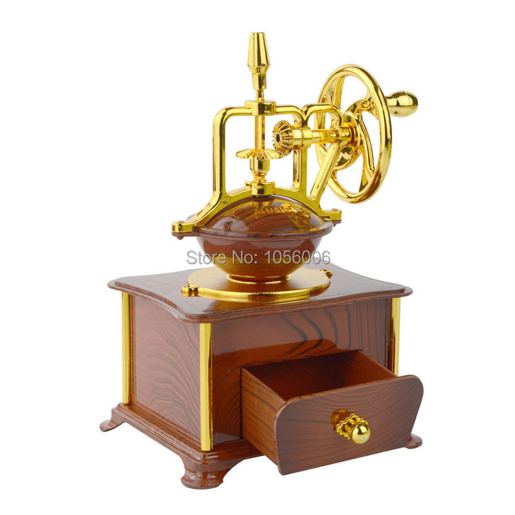 new arrival hand crank jewelry music box antique look coffee machine mechanical music box. Black Bedroom Furniture Sets. Home Design Ideas