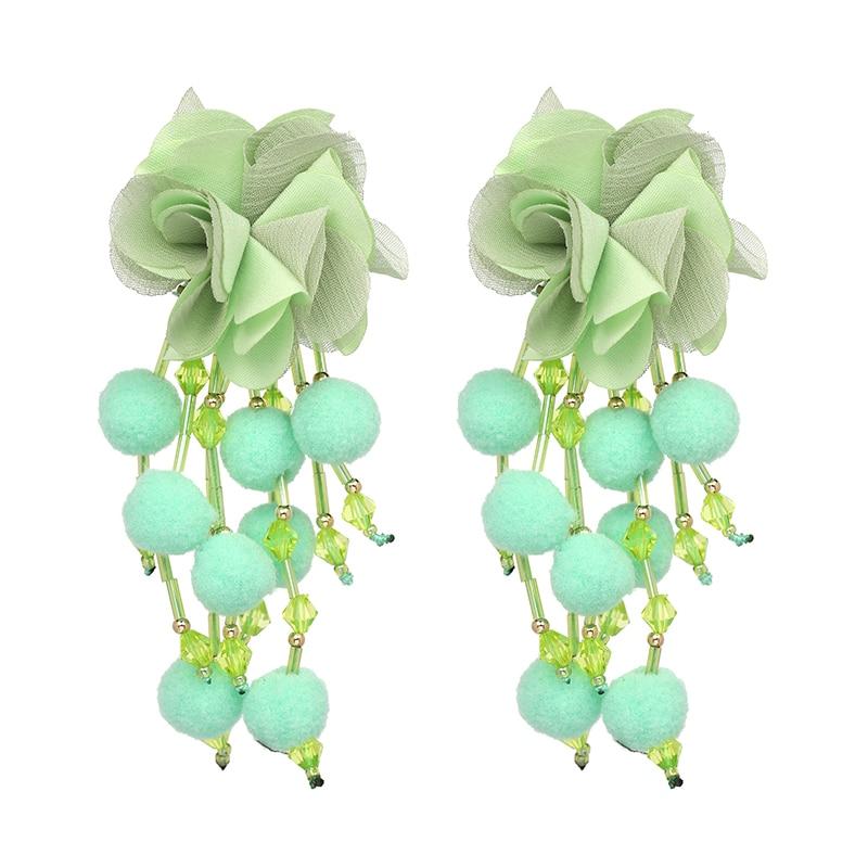 JUJIA Bohemian Long Flower Earrings Pom Pom Big Statement Earrings Fringe Drop Earrings Women Jewelry 9