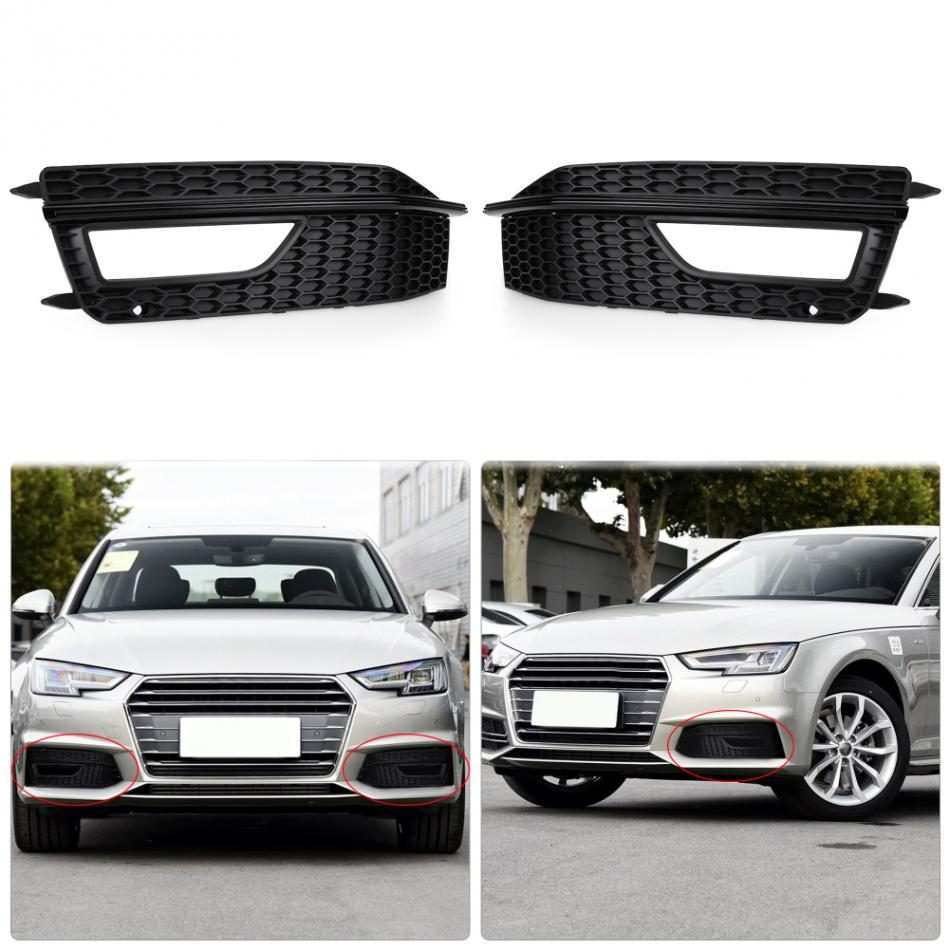 1 Pair of Fog Light Corver Front Lower Bumper Fog Light Cover Grill Grille for Audi A4 S-Line S4 13-15 Matte Black 1 pair car styling left & right front bumper lower fog light lamp grille cover for audi a4 s line s4 2013 2014 2015 only