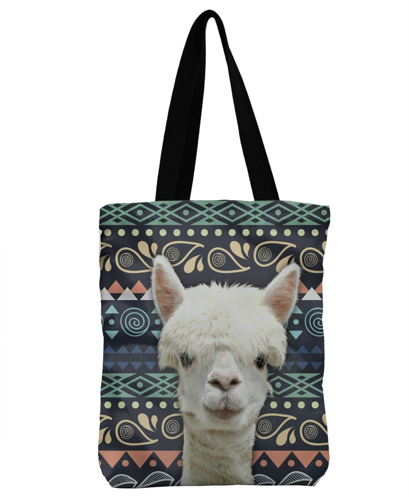 3D Printing Llama Aztec Handbag Bolsa Bag Canvas Beach Bags Ladies Large Shoulder Bag