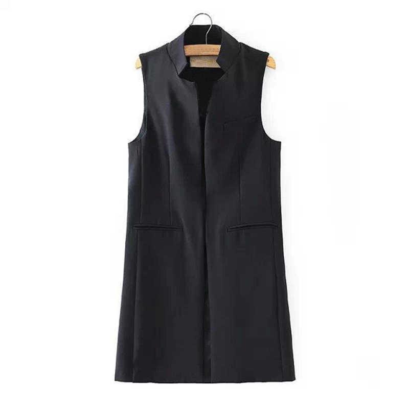 Phong Cách Mới Mùa Xuân/Mùa Hè Áo Vest Blazer Phối Nữ Cổ Đứng Dài Phù Hợp Với Áo Vest Đen Trắng Xanh Đậm Với 2 túi Outwears