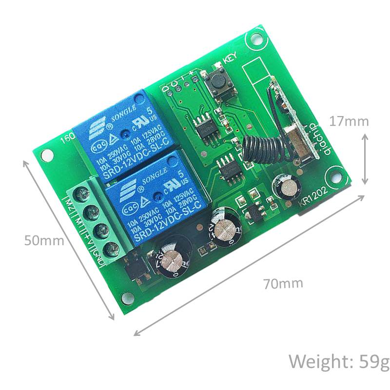 Rf Switch Remote Control Dc 12v 2 Gang Relay Receiver And 1527 Learning Code Transmitter For Led Light Electric Device Control