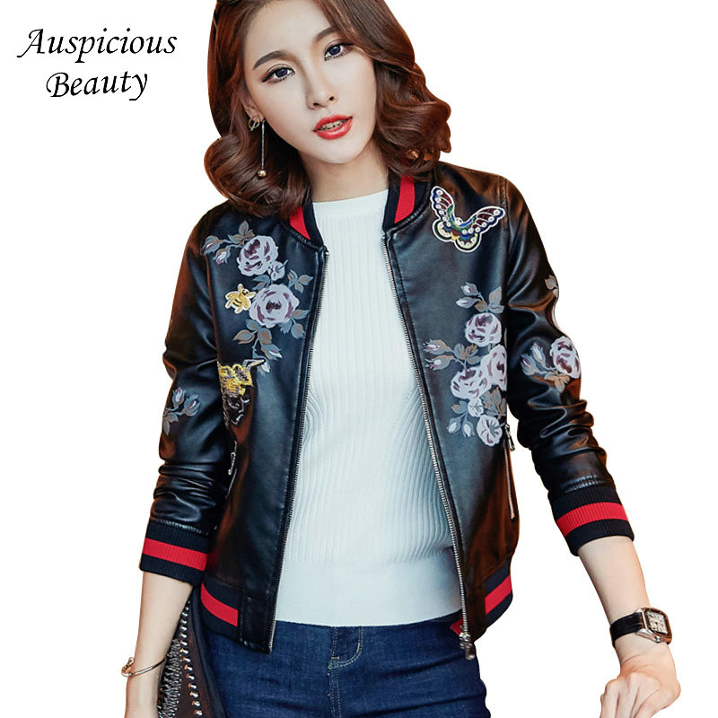 Women Floral Printed Jackets 2018 New Brand Fashion Short Coats Female PU leather Stand Overcoat Tops Clothing Plus Size CX366