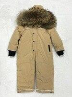 30 градусов русский зимний комбинезон утка вниз детские комбинезоны мех младенческой для мальчиков и девочек комбинезоны с капюшоном детск