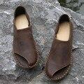 Novo 2016 sapatos de couro de couro puro da arte mori fêmea sandálias boca de peixe sapatos sapatos, Café / Khaki