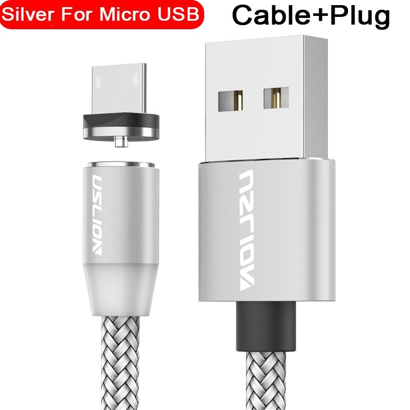 Магнитный usb-кабель USLION для быстрой зарядки, кабель USB type C, Магнитный зарядный кабель Micro usb для зарядки и передачи данных, кабель USB для мобильного телефона - Цвет: For Micro Silver