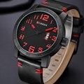 Homens Relógios CURREN Marca Reloj Militar Quartz Analógico 3D Rosto Couro Exército moda Relógio Sports Watch Relogios Masculino