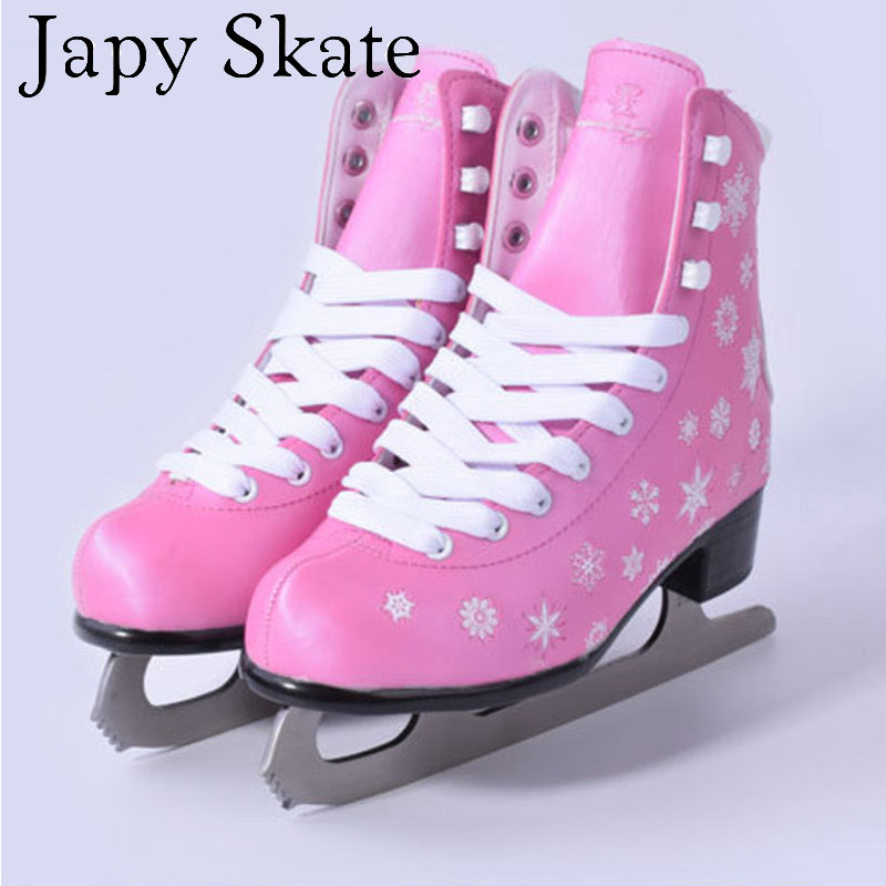 Japy Skate Ice Skate Tricks Shoes Adult Child Pink/Blue Ice Skates Professional Flower Knife Ice Hockey Knife Real Ice Skates utc pearl tinsel ice blue