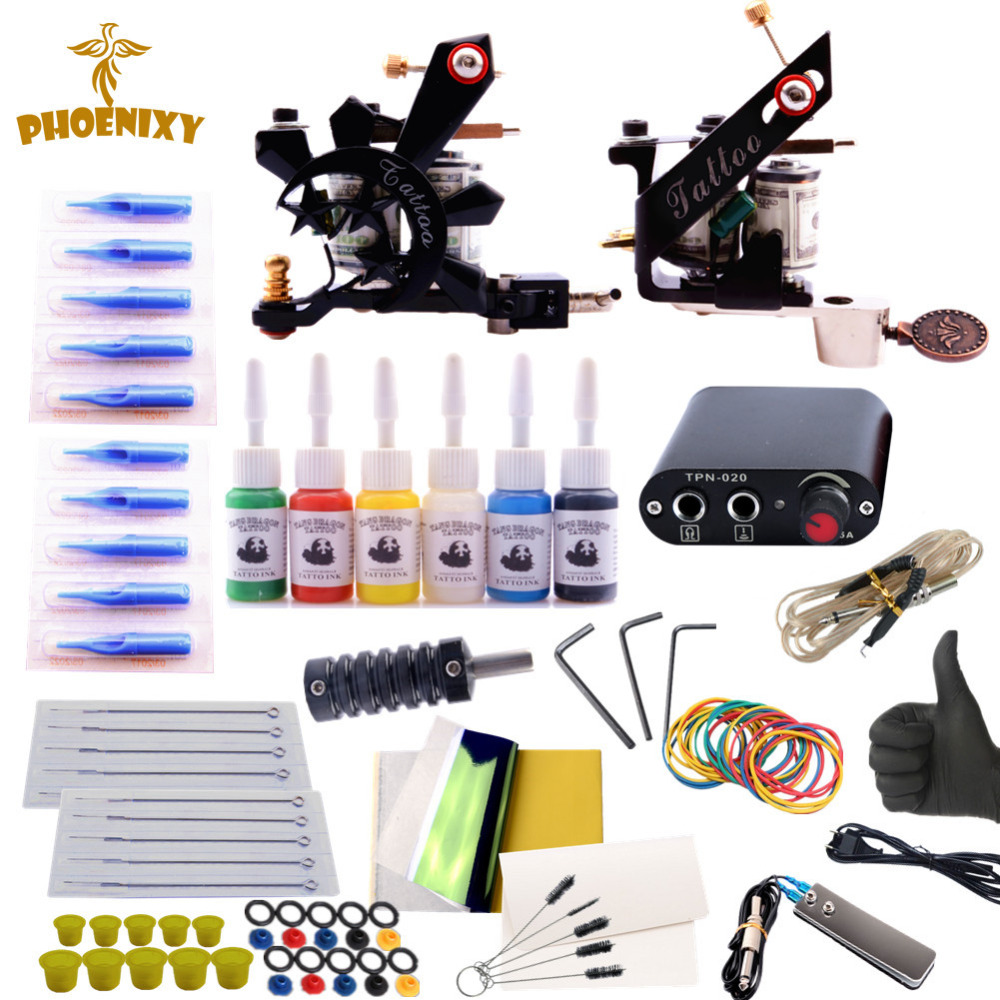 Complete Tattoo Kit 2 Tattoo Machine Set 6 Colors Tattoo Ink Set Needles Permanent Make Up Cheap Tattoo Kit complete tattoo kit set tattoo machine gun power needles with 10colors ink permanent make up body tattooing art supply 2017
