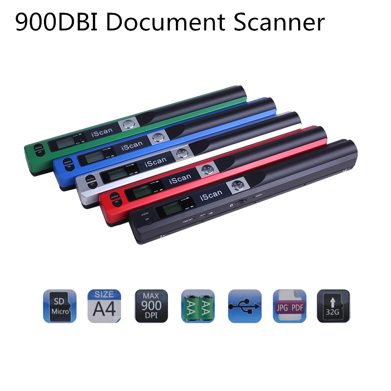 Portable Scanner Document-Image Format A4 USB2.0 900dpi-1050dbi Lcd-Display JPG/PDF