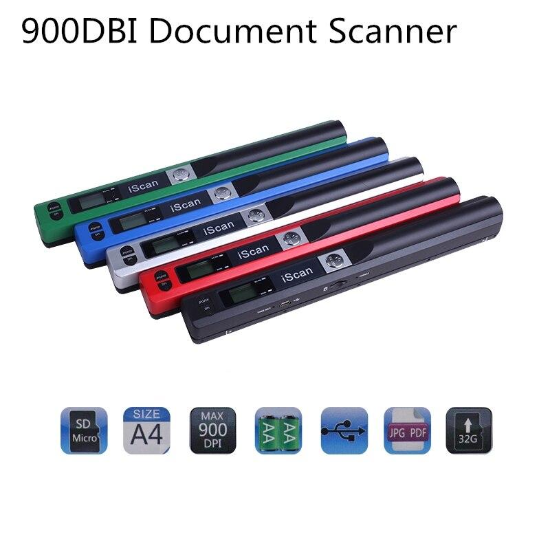 Scanner Portable iScan 900 DPI 1050DBI Format Document Image A4 livre Scanner LCD affichage JPG/PDF USB2.0 Scanner livraison directe