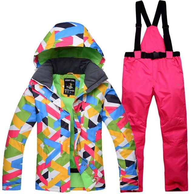 2018 зимняя куртка для снежной погоды Для женщин лыжный костюм женский Куртка для снежной погоды и штаны ветрозащитные Водонепроницаемый красочные одежды сноуборд наборы