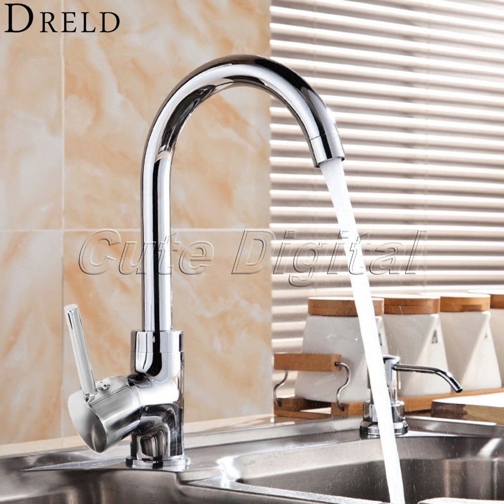 Chrome Finish Bath Bathroom Faucet Single Handle Swivel Spout Cold and Hot Water Mixer Taps Rotatable Brass Kitchen Sink Faucet 360 swivel kitchen sink faucet chrome brass finish stream spout bathroom faucet hot