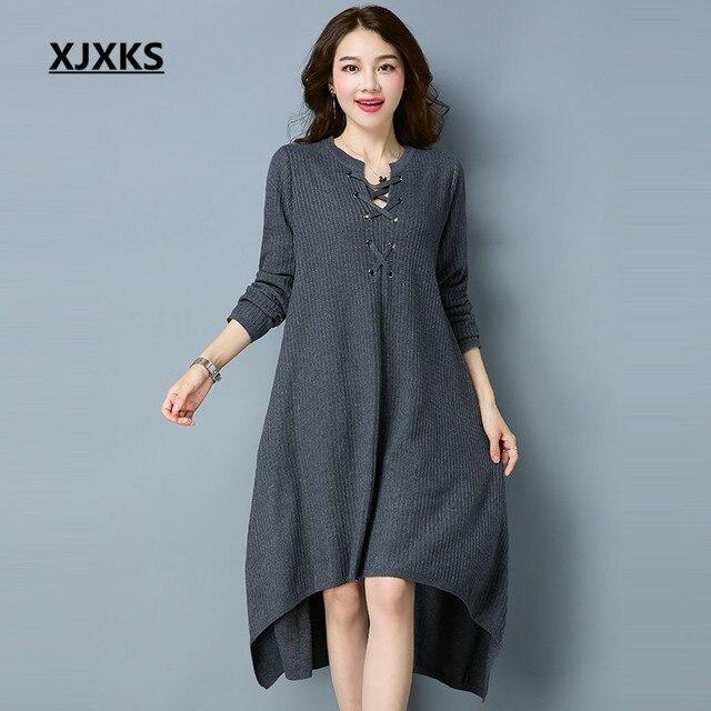 6af1f2772d17 XJXKS Lace Up Vestidos Autumn And Winter Dresses Irregular Hem Loose Casual  Wool Fabrics Comfortable Women Sweater Dress