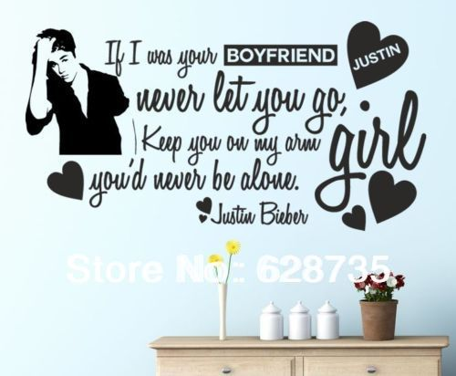 justin bieber fashion wall stickers home decoration for girl wall quotes decorative stickers vinyl wall decals poster m2005