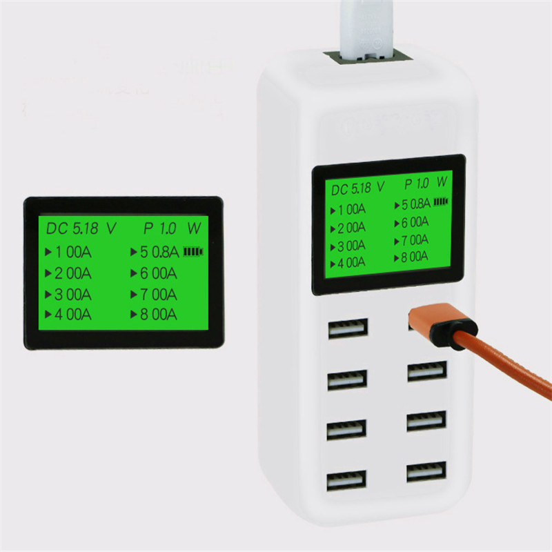 USB Charger Portable Multi USB Port Rapid Charger 8 Port USB Socket Fast Charger with LCD Display for Smart Mobile Phone