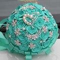 Европейский Американский Бирюзовый Свадебный Букет Ручной Работы Прочный Холдинг Цветы Шелковый Роуз Diamond Брошь Перл Атласная Букеты W125